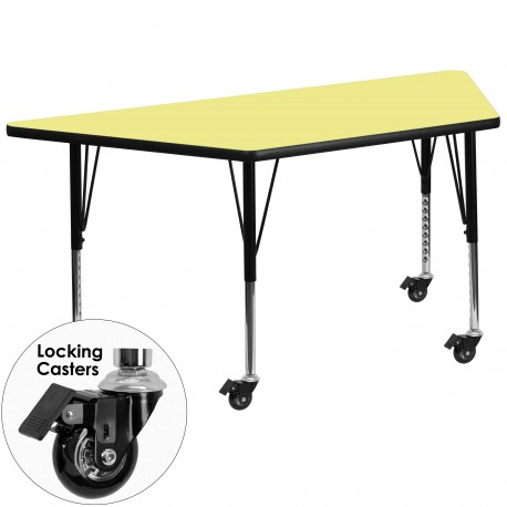 Mobile 30''W x 60''L Trapezoid Activity Table with Yellow Thermal Fused Laminate Top and Height Adjustable Pre-School Legs