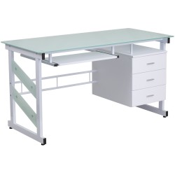 White Computer Desk with Three Drawer Pedestal