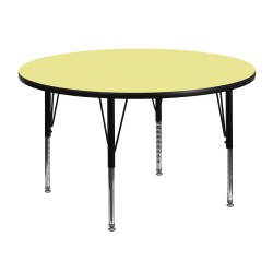 48'' Round Activity Table with Yellow Thermal Fused Laminate Top and Height Adjustable Pre-School Legs