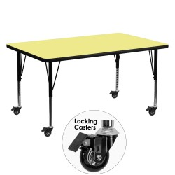 Mobile 30''W x 60''L Rectangular Activity Table with Yellow Thermal Fused Laminate Top and Height Adjustable Pre-School Legs