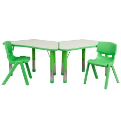 Green Trapezoid Plastic Activity Table Configuration with 2 School Stack Chairs