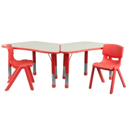 Red Trapezoid Plastic Activity Table Configuration with 2 School Stack Chairs