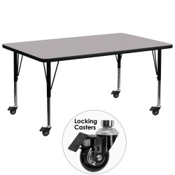 Mobile 30''W x 72''L Rectangular Activity Table with Grey Thermal Fused Laminate Top and Height Adjustable Pre-School Legs