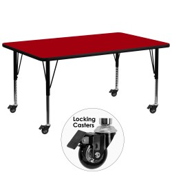Mobile 30''W x 72''L Rectangular Activity Table with Red Thermal Fused Laminate Top and Height Adjustable Pre-School Legs