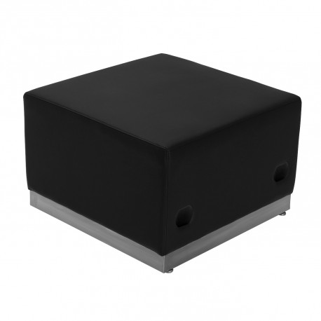 Inspiration Collection Black Leather Ottoman with Brushed Stainless Steel Base