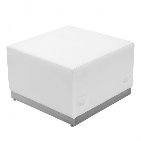 Inspiration Collection White Leather Ottoman with Brushed Stainless Steel Base