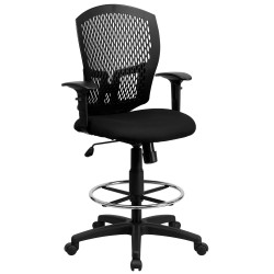 Mid-Back Designer Back Drafting Stool with Padded Fabric Seat and Arms
