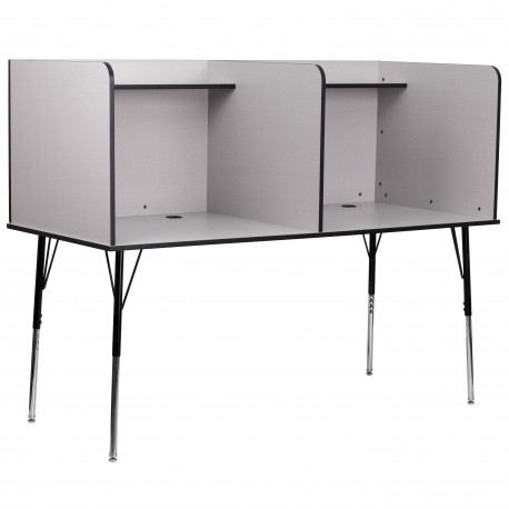 Double Wide Study Carrel with Adjustable Legs and Top Shelf in Nebula Grey Finish