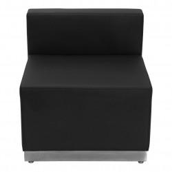 Inspiration Collection Black Leather Chair with Brushed Stainless Steel Base