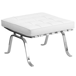 Friendly Collection White Leather Ottoman