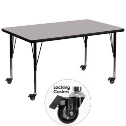Mobile 36''W x 72''L Rectangular Activity Table with Grey Thermal Fused Laminate Top and Height Adjustable Pre-School Legs
