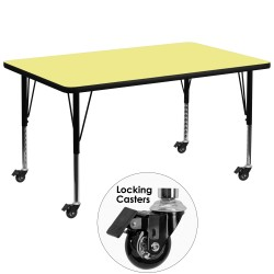Mobile 36''W x 72''L Rectangular Activity Table with Yellow Thermal Fused Laminate Top and Height Adjustable Pre-School Legs