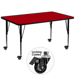 Mobile 36''W x 72''L Rectangular Activity Table with Red Thermal Fused Laminate Top and Height Adjustable Pre-School Legs