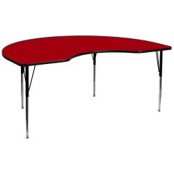 48''W x 96''L Kidney Shaped Activity Table with Red Thermal Fused Laminate Top and Standard Height Adjustable Legs