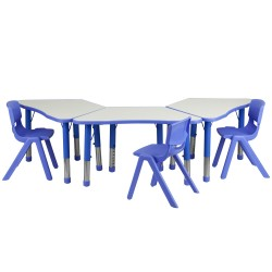 Blue Trapezoid Plastic Activity Table Configuration with 3 School Stack Chairs