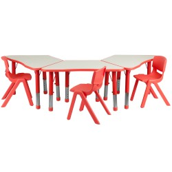 Red Trapezoid Plastic Activity Table Configuration with 3 School Stack Chairs