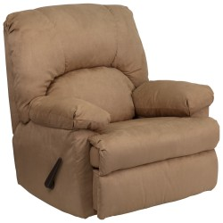 Contemporary Montana Latte Microfiber Suede Rocker Recliner
