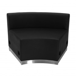 Inspiration Collection Black Leather Concave Chair with Brushed Stainless Steel Base
