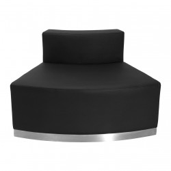 Inspiration Collection Black Leather Convex Chair with Brushed Stainless Steel Base