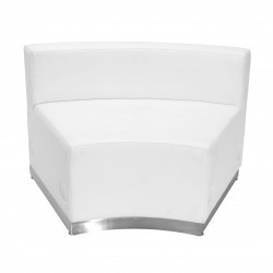 Inspiration Collection White Leather Concave Chair with Brushed Stainless Steel Base