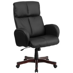 High Back Black Leather Executive Office Chair with Fully Upholstered Arms