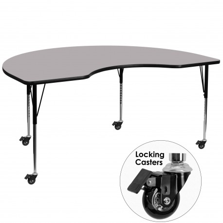 Mobile 48''W x 72''L Kidney Shaped Activity Table with Grey Thermal Fused Laminate Top and Standard Height Adjustable Legs