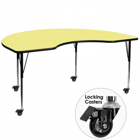 Mobile 48''W x 72''L Kidney Shaped Activity Table with Yellow Thermal Fused Laminate Top and Standard Height Adjustable Legs