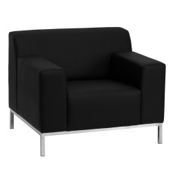 Basal Collection Contemporary Black Leather Chair with Stainless Steel Frame