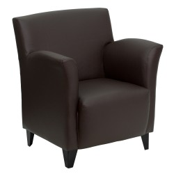 Arc Collection Brown Leather Reception Chair