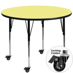Mobile 60'' Round Activity Table with Yellow Thermal Fused Laminate Top and Standard Height Adjustable Legs