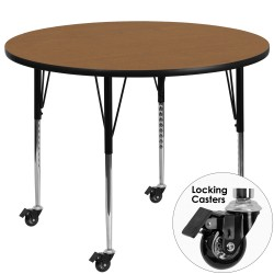 Mobile 60'' Round Activity Table with Oak Thermal Fused Laminate Top and Standard Height Adjustable Legs