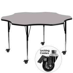 Mobile 60'' Flower Shaped Activity Table with Grey Thermal Fused Laminate Top and Standard Height Adjustable Legs