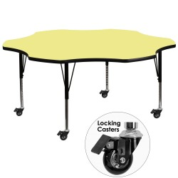 Mobile 60'' Flower Shaped Activity Table with Yellow Thermal Fused Laminate Top and Height Adjustable Pre-School Legs