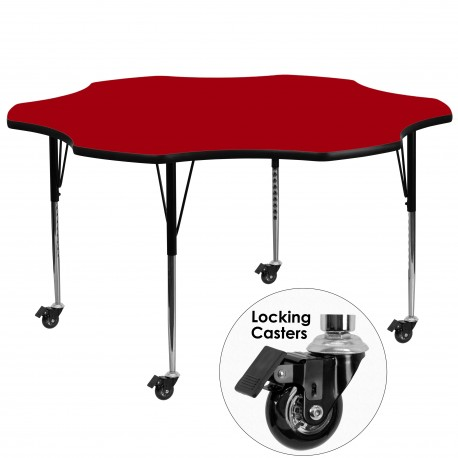 Mobile 60'' Flower Shaped Activity Table with Red Thermal Fused Laminate Top and Standard Height Adjustable Legs