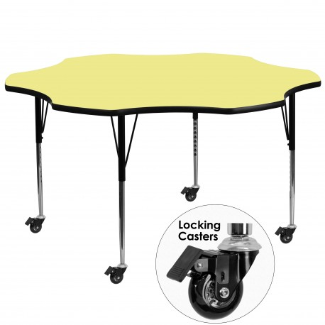 Mobile 60'' Flower Shaped Activity Table with Yellow Thermal Fused Laminate Top and Standard Height Adjustable Legs