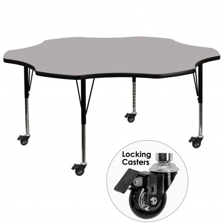 Mobile 60'' Flower Shaped Activity Table with Grey Thermal Fused Laminate Top and Height Adjustable Pre-School Legs