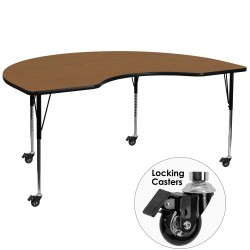 Mobile 48''W x 96''L Kidney Shaped Activity Table with Oak Thermal Fused Laminate Top and Standard Height Adjustable Legs