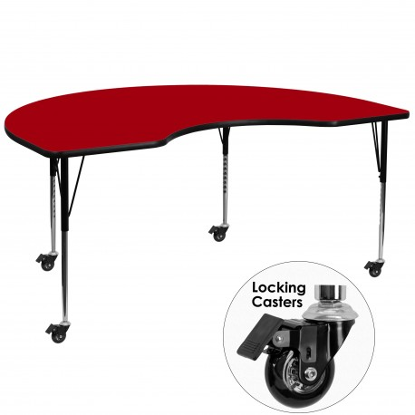 Mobile 48''W x 96''L Kidney Shaped Activity Table with Red Thermal Fused Laminate Top and Standard Height Adjustable Legs
