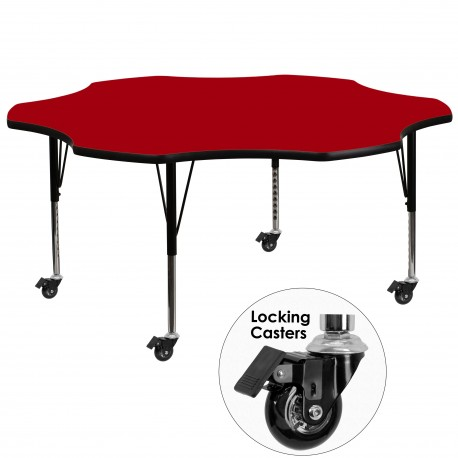 Mobile 60'' Flower Shaped Activity Table with Red Thermal Fused Laminate Top and Height Adjustable Pre-School Legs
