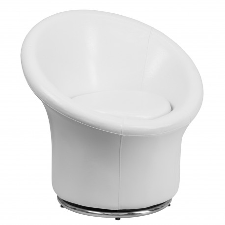 White Leather Swivel Reception Chair