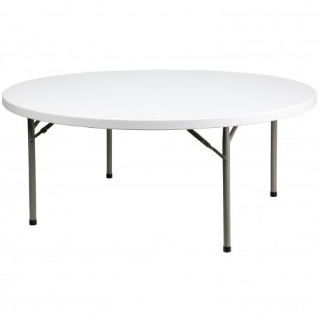 72'' Round Granite White Plastic Folding Table