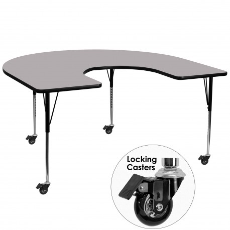 Mobile 60''W x 66''L Horseshoe Activity Table with Grey Thermal Fused Laminate Top and Standard Height Adjustable Legs