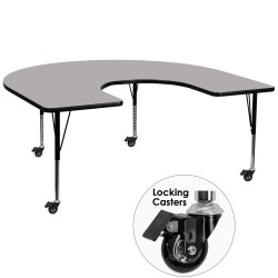 Mobile 60''W x 66''L Horseshoe Activity Table with Grey Thermal Fused Laminate Top and Height Adjustable Pre-School Legs