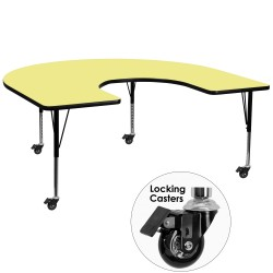 Mobile 60''W x 66''L Horseshoe Activity Table with Yellow Thermal Fused Laminate Top and Height Adjustable Pre-School Legs