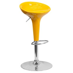 Contemporary Yellow Plastic Adjustable Height Bar Stool with Chrome Base