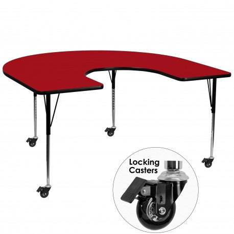 Mobile 60''W x 66''L Horseshoe Activity Table with Red Thermal Fused Laminate Top and Standard Height Adjustable Legs
