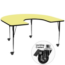 Mobile 60''W x 66''L Horseshoe Activity Table with Yellow Thermal Fused Laminate Top and Standard Height Adjustable Legs