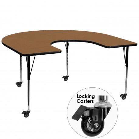 Mobile 60''W x 66''L Horseshoe Activity Table with Oak Thermal Fused Laminate Top and Standard Height Adjustable Legs