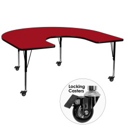 Mobile 60''W x 66''L Horseshoe Activity Table with Red Thermal Fused Laminate Top and Height Adjustable Pre-School Legs