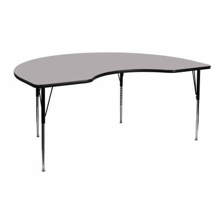 48''W x 72''L Kidney Shaped Activity Table with Grey Thermal Fused Laminate Top and Standard Height Adjustable Legs